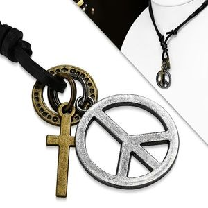Fashion Cross Ring Peace Sign Charm Adjustable